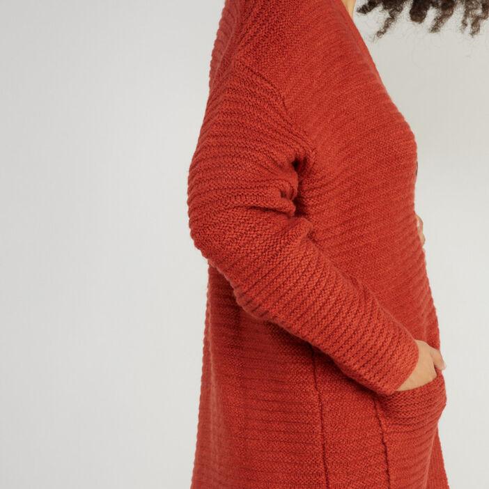 Gilet uni en maille côtelée femme orange foncé