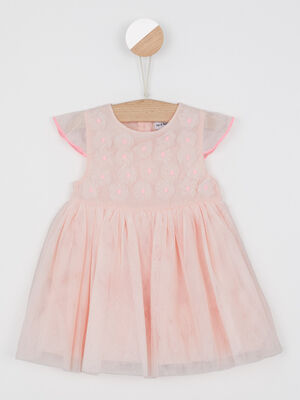Robe patineuse avec fleurs rose clair fille