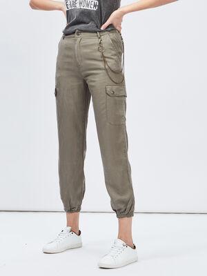 Pantalon battle avec chaine vert kaki femme