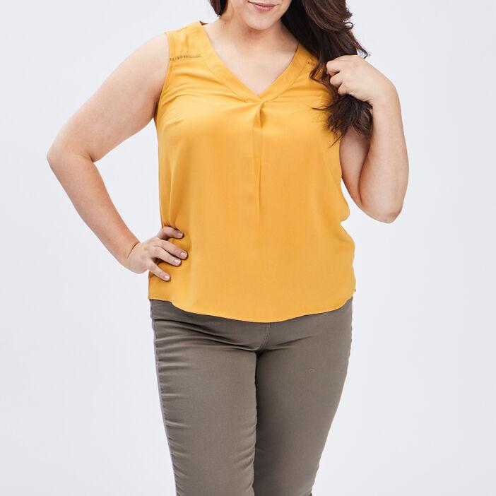 Blouse sans manches femme grande taille jaune moutarde