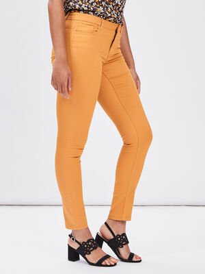 Pantalon skinny taille basse jaune fonce femme