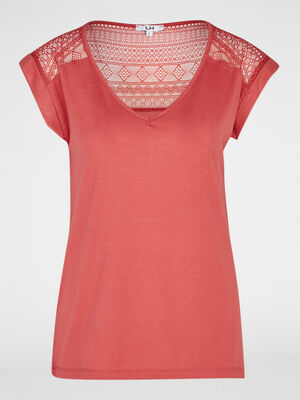 T shirt bimatiere manches courtes rose framboise femme
