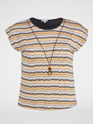 T shirt imprime bijou integre jaune moutarde femme