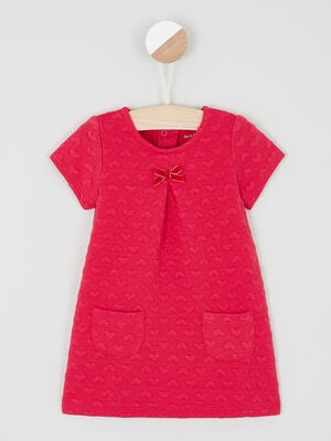 Robe trapeze a manches courtes rouge fille