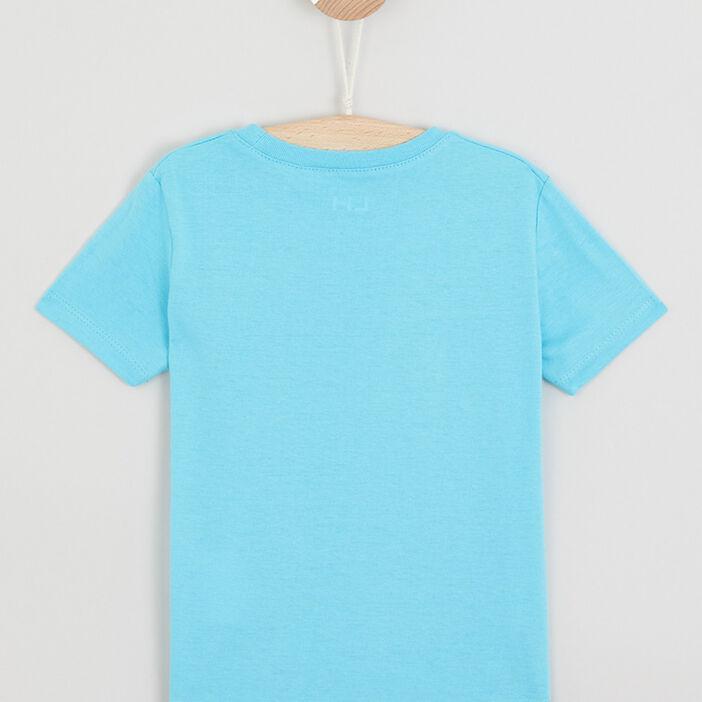 T-shirt col rond avec imprimé garçon bleu turquoise