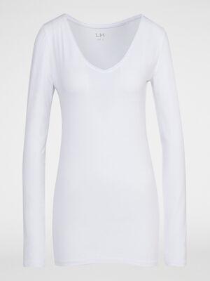 T shirt col V ajuste blanc femme