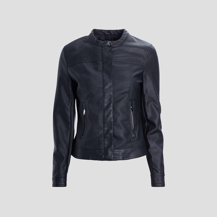 Blouson simili cuir ajusté à col rond femme noir