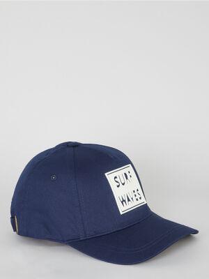 Casquette en coton avec inscription bleu marine mixte