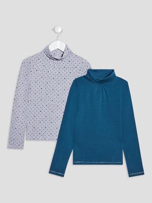 Lot 2 t shirts manches longues gris fille