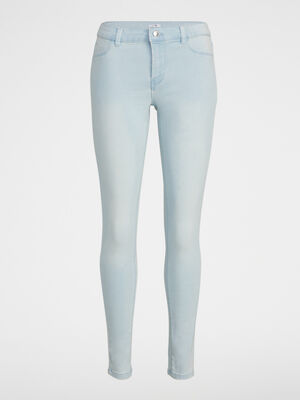 Jean skinny 5 poches uni denim bleach femme
