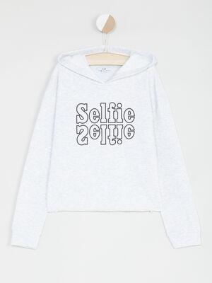 Sweatshirt a capuche bande imprimee gris clair fille