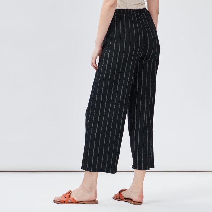 Pantalon large fluide femme noir