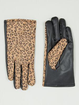 Gants imprimes leopard noir femme