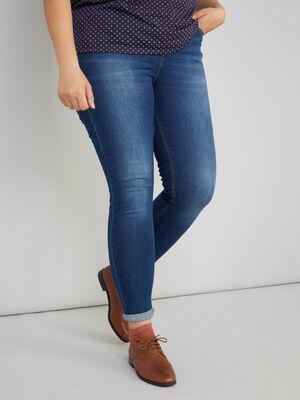 Jeans slim grande taille denim brut femme