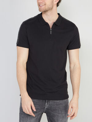 Polo coton uni col zippe noir homme