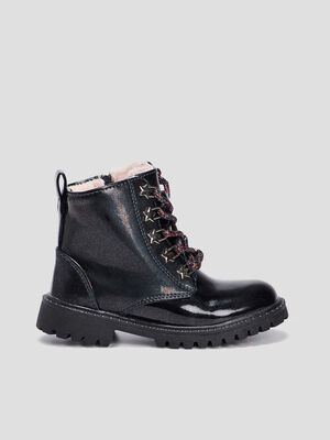 Bottines vernies fourrees noir fille