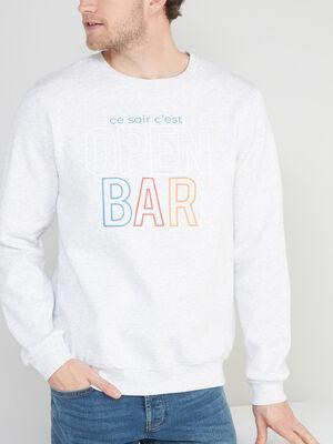 Sweatshirt col rond a message gris clair homme
