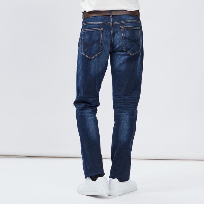 Jeans regular ceinturé homme denim double stone