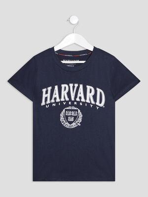 T shirt Harvard bleu fille