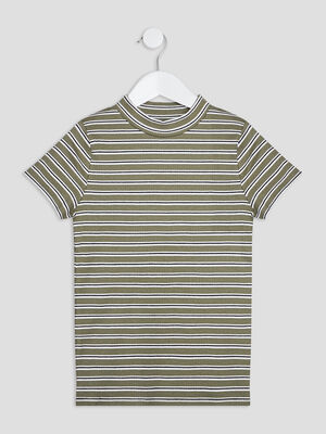 T shirt manches courtes cotele vert kaki fille