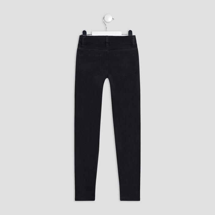 Jeans skinny taille ajustable fille noir