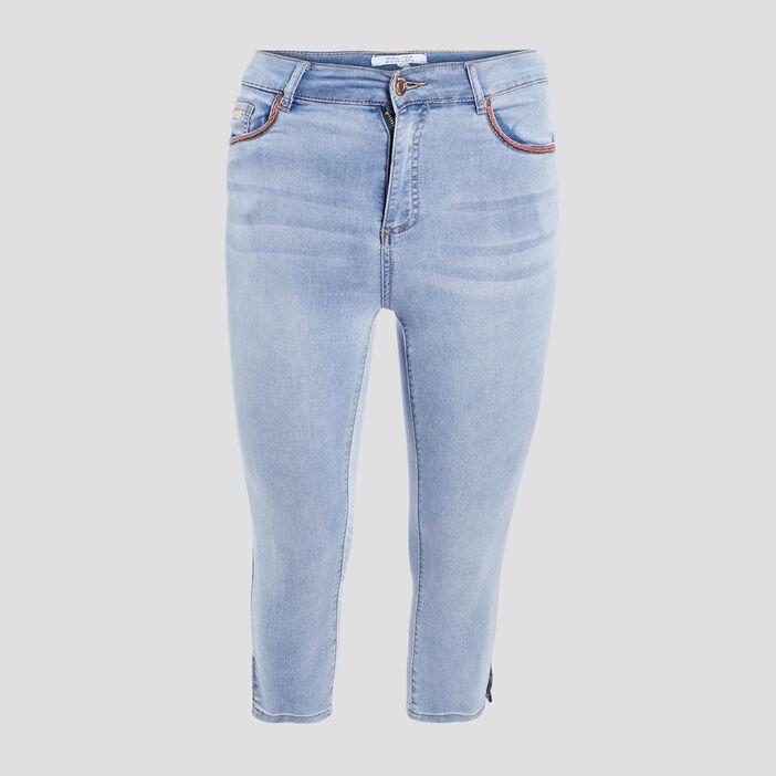 Jeans skinny 7/8ème femme grande taille denim bleach