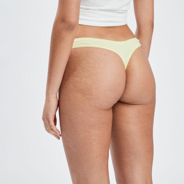 Culotte string femme jaune