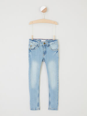 Jean slim effet use denim double stone garcon