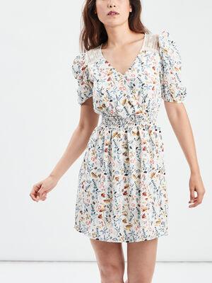 Robe droite taille elastiquee ecru femme
