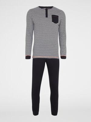 Pyjama deux pieces pantalon imprime noir homme