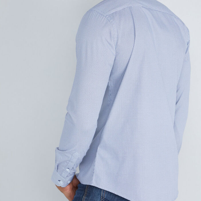 Chemise imprimée col classique homme bleu marine
