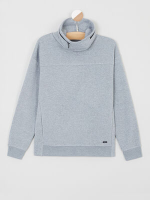 Sweatshirt chine col montant zippe gris garcon