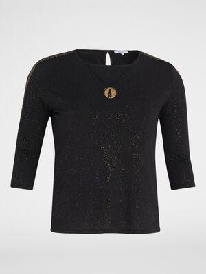 T shirt avec detail bijou noir femmegt