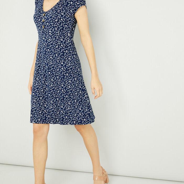 Robe évasée manches courtes femme bleu marine