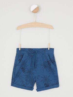 Short imprime feuillage revers bleu marine garcon