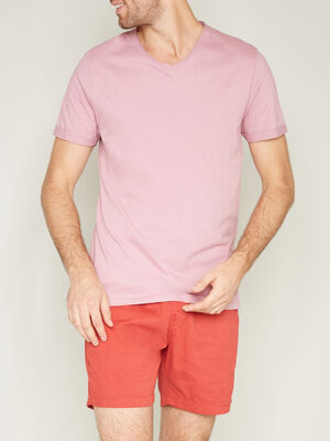 T shirt manches courtes col rond rose homme