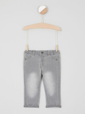 Jean slim a taille elastiquee gris bebeg