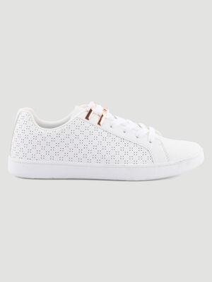 Tennis details ajoures lacets bijoux blanc femme
