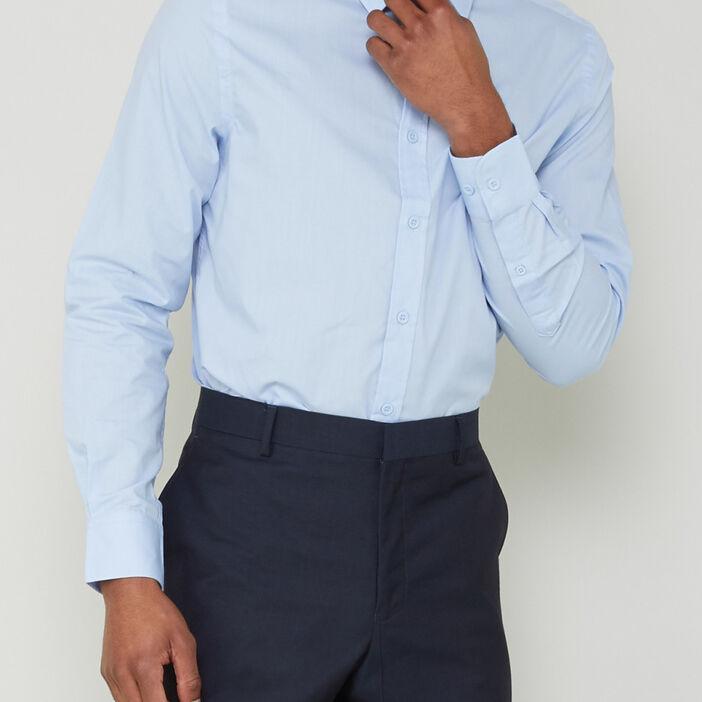 Chemise slim unie manches longues homme bleu ciel