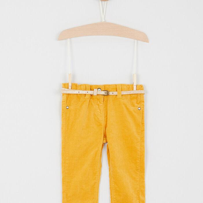 Pantalon velours coupe slim bébé fille jaune