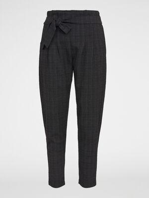Pantalon paperbag ceinture a carreaux marron fonce femme