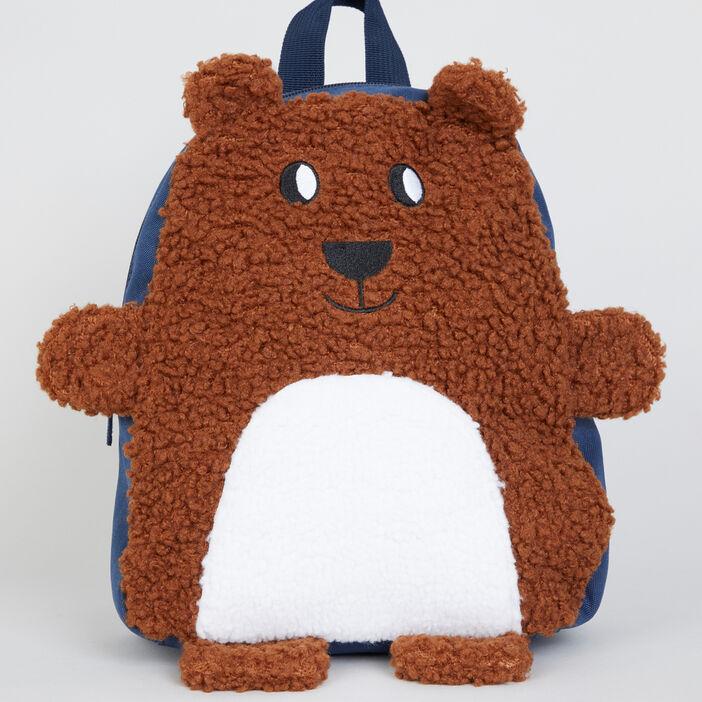 Sac à dos ourson peluche garçon bleu
