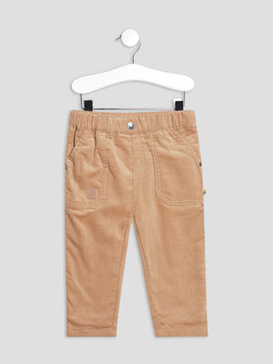 Pantalon droit taille elastiquee marron bebeg