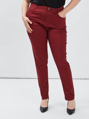 Pantalon slim grande taille bordeaux femmegt