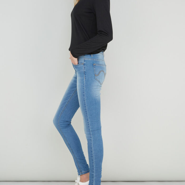 Jeans skinny taille basse femme denim double stone