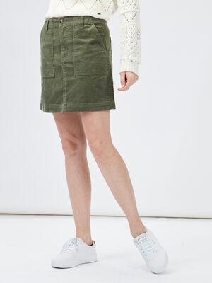 Jupe droite en velours vert femme
