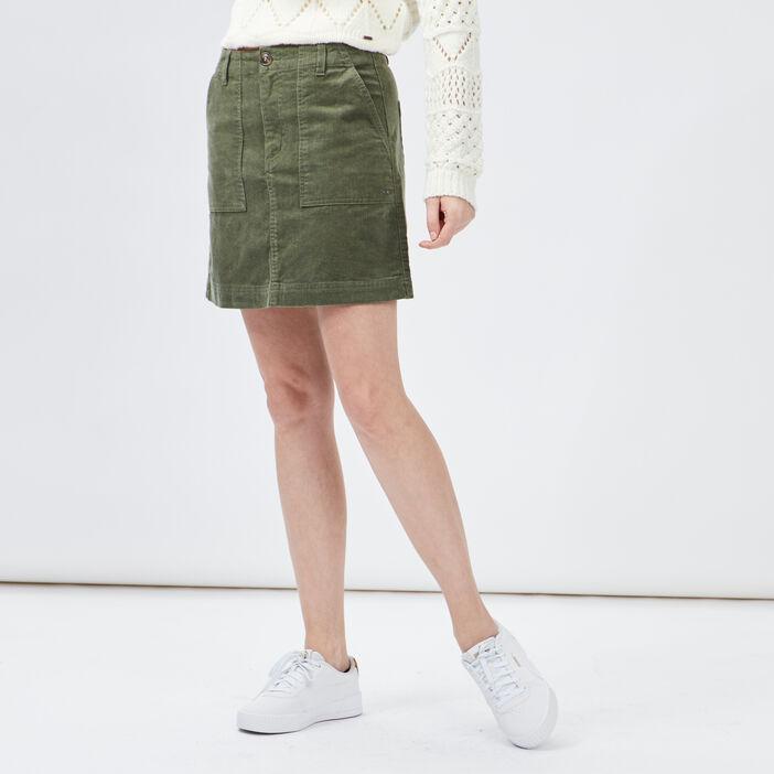 Jupe droite en velours femme vert