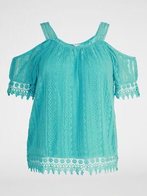 T shirt macrame grande taille bleu turquoise femme