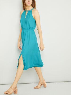 Robe col choker bleu turquoise femme