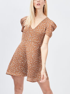 Robe evasee manches bouffantes camel femme